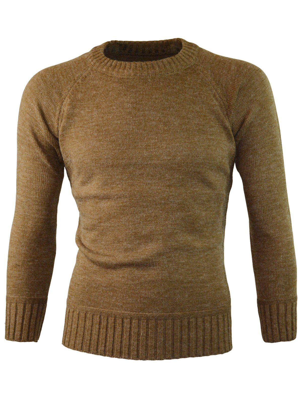 Outfits Ribbed Edge Knitted Crew Neck Sweater