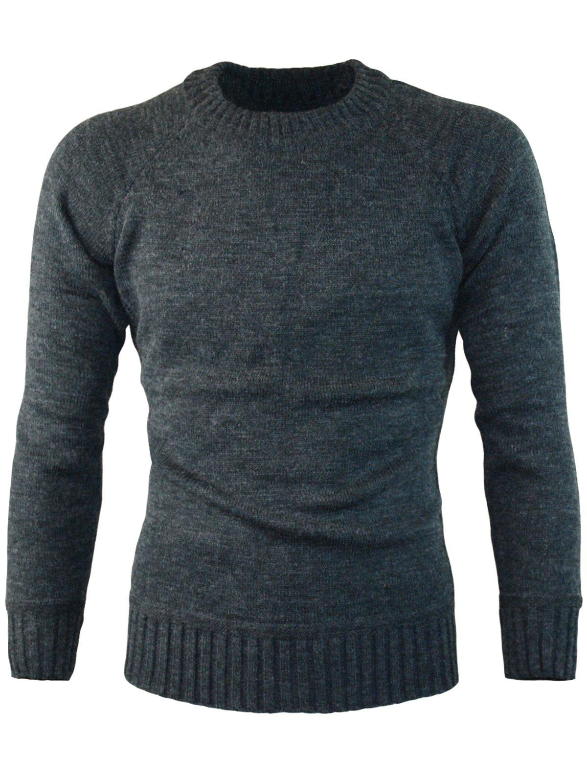 Chic Ribbed Edge Knitted Crew Neck Sweater