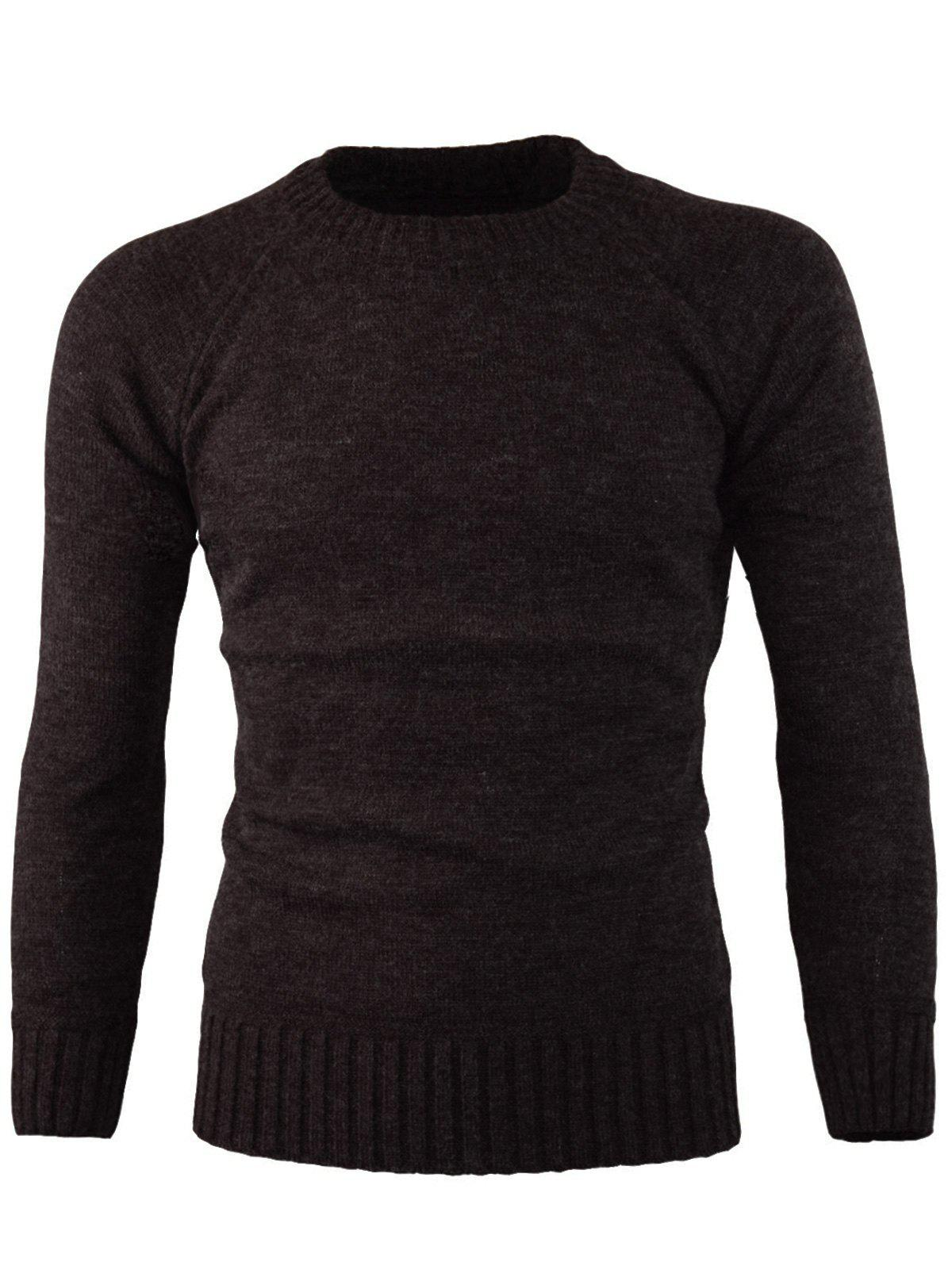 Unique Ribbed Edge Knitted Crew Neck Sweater