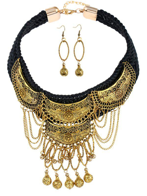 Latest Vintage Fringed Ball Braid Necklace with Earrings