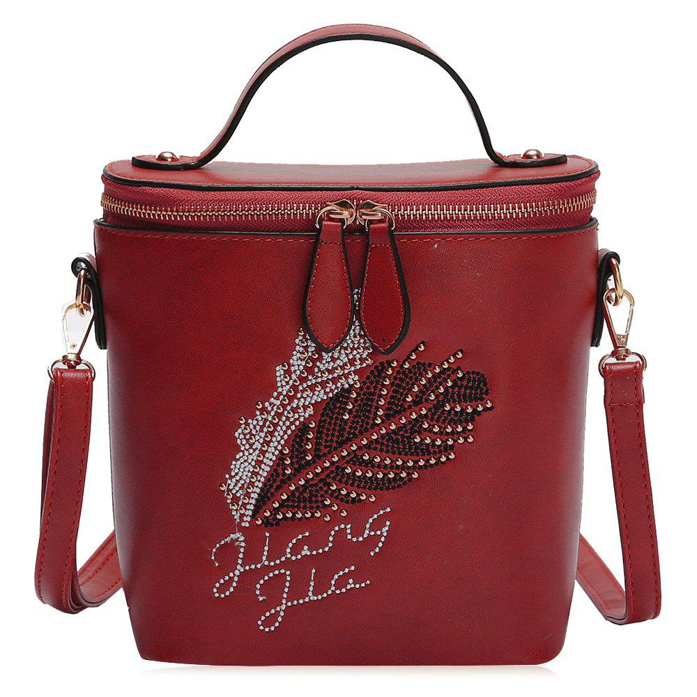 Latest Feather Rhinestone Embroidery Crossbody Bag