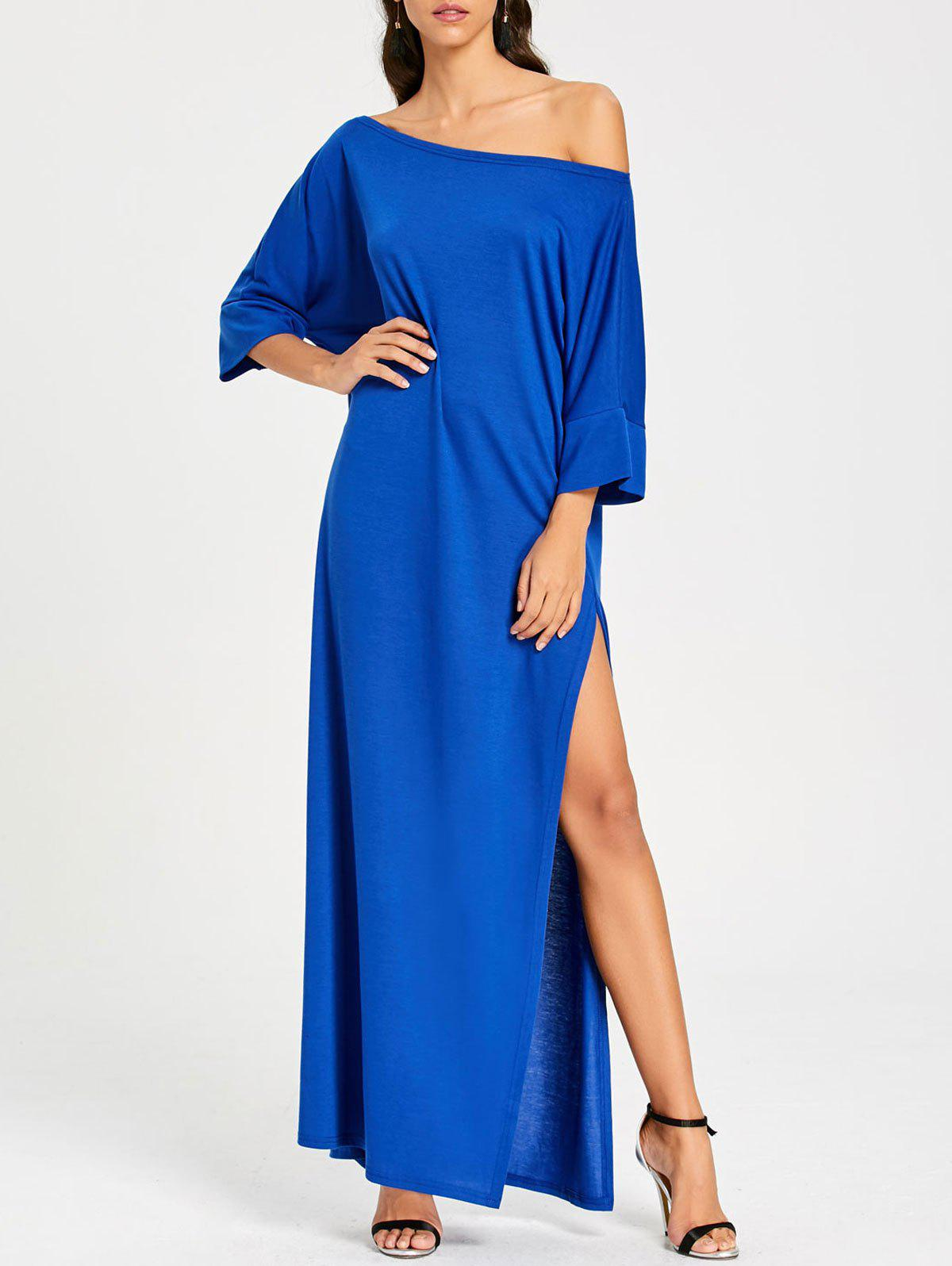 Cheap Floor Length High Slit Skew Collar Dress