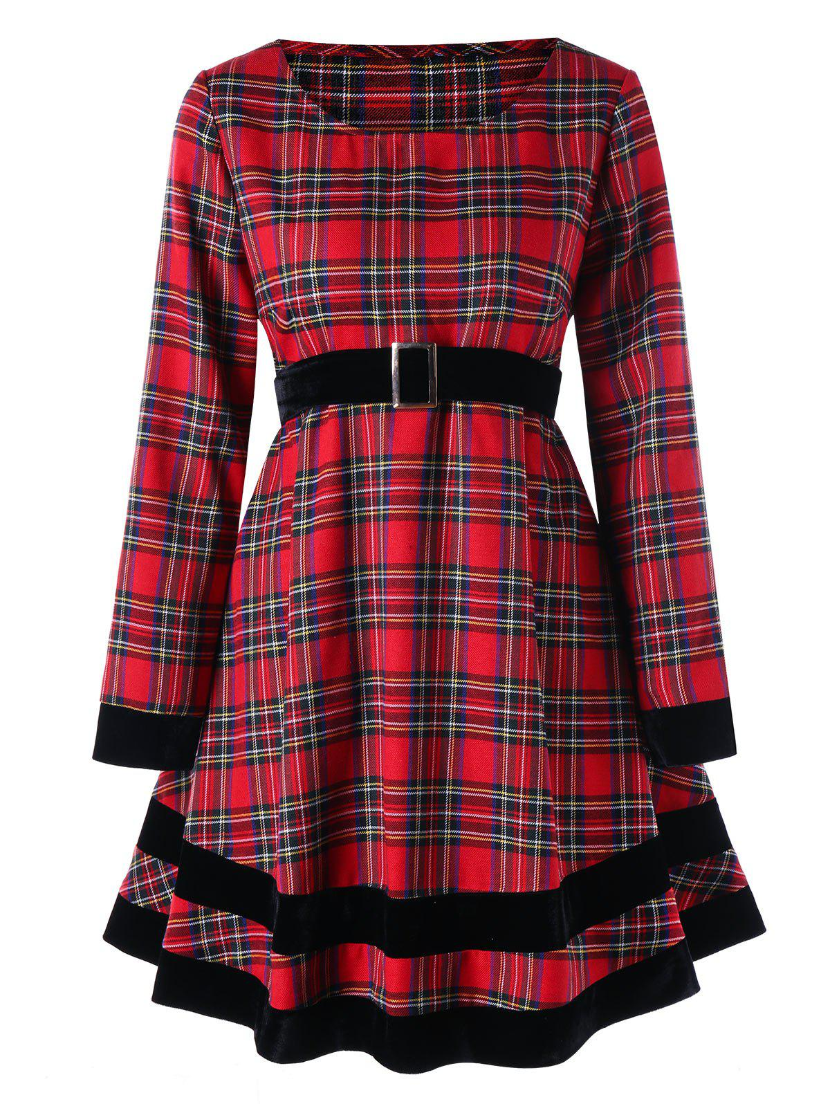 Outfit Plus Size Plaid Long Sleeve Dress