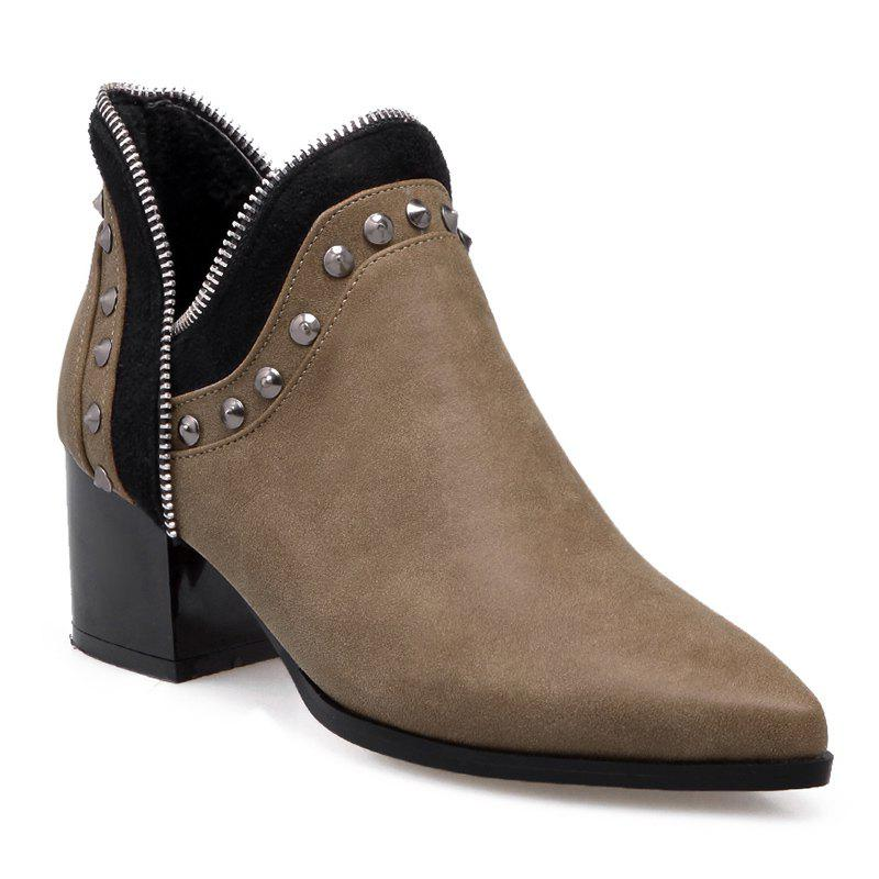 Outfits Point Toe Studded Ankle Boots