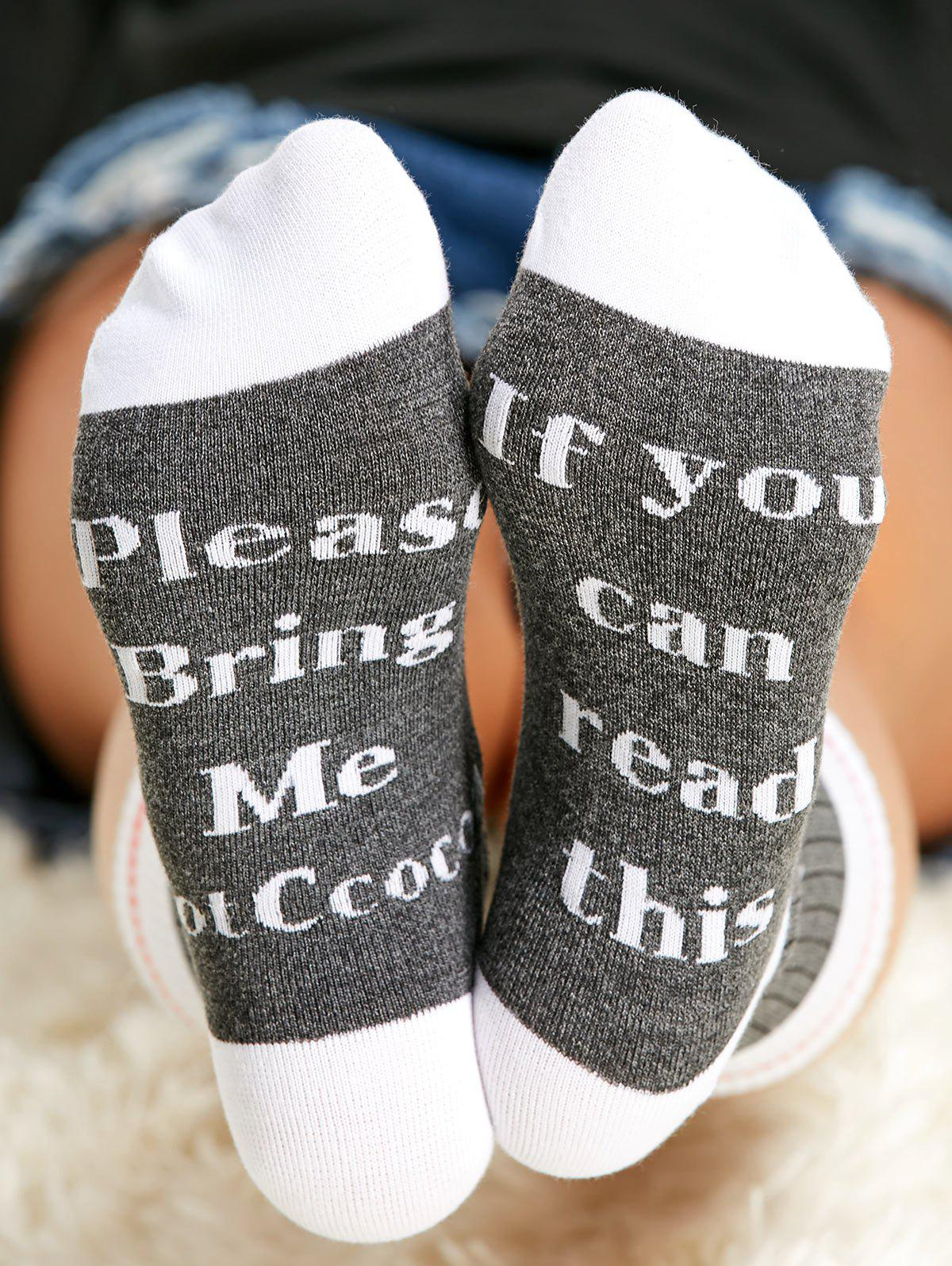 Best Pair of Letter Graphic Contrast Socks