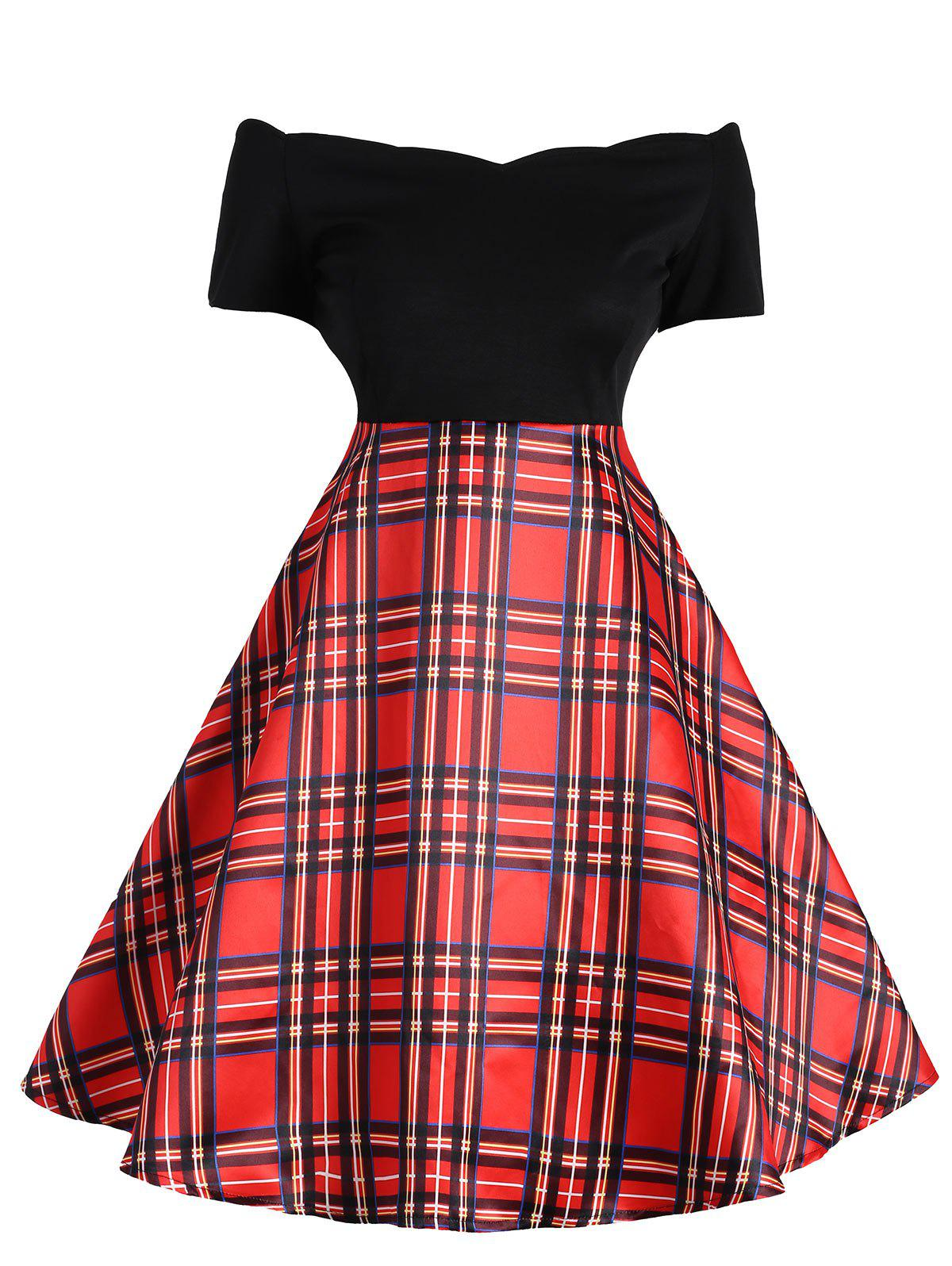 Fashion Vintage Off The Shoulder Plaid Dress