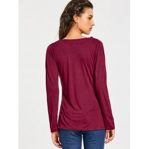 Vogue Cowl Neck Long Sleeve Button Embellished Blouse For Women -