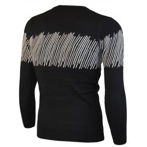 Color Block Jacquard Crew Neck Sweater -