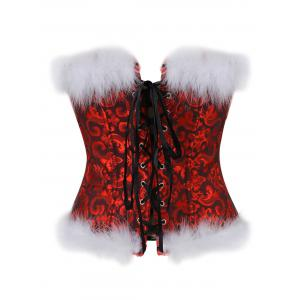 Steel Boned Christmas Feathers Brocade Corset -