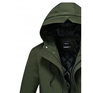 Hooded Padded Zip Up Cargo Coat -