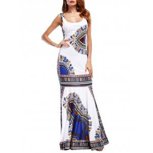 Tribal Print Maxi Fishtail Party Dress -