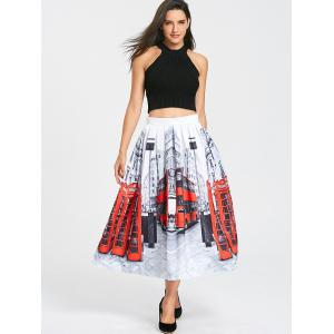 Streetscape Print Pleated Midi Dress -