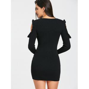 Ruffle Cold Shoulder Knitted Rib Bodycon Dress -