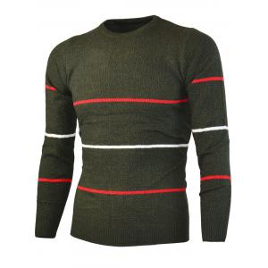 Crew Neck Knitted Stripe Sweater -