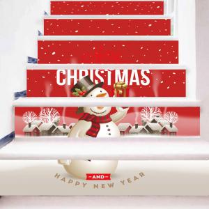 Merry Christmas Snowman Printed Decorative Stair Stickers -