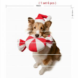 Cute Dog Wearing Christmas Hat Pattern Stair Stickers -