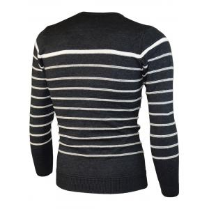 Number Jacquard Stripe Crew Neck Sweater -