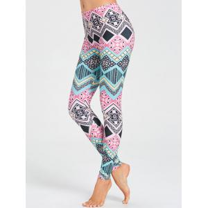 Colored Geometric Pattern Gym Leggings -