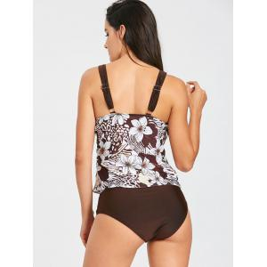 Flower Print Plunge Neck Tankini Set -