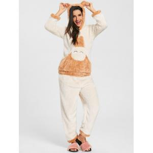 Bunny Hooded Fuzzy Pajamas Set -