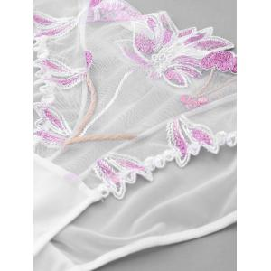 Embroidery Mesh Unlined Bra Set -