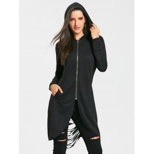 Tunic Ripped Zip Up Hoodie -
