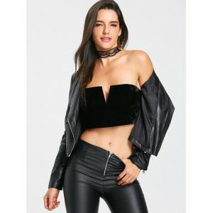Velvet V Cut Tube Crop Top -
