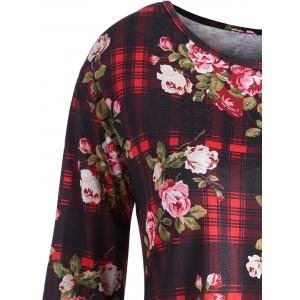 Plus Size Floral Plaid Print  Tunic Top -