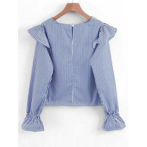 Striped Ruffles Long Sleeve Blouse -