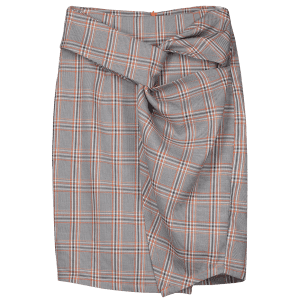 Twist Checked Pencil Skirt -