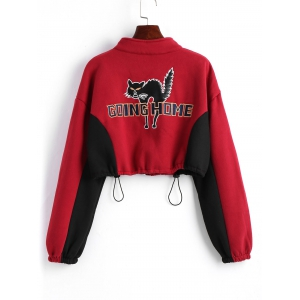 Zip Up Letter Cat Embroidered Cropped Sweatshirt -