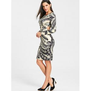 Tribal Printed Cut Out Bodycon Dress -
