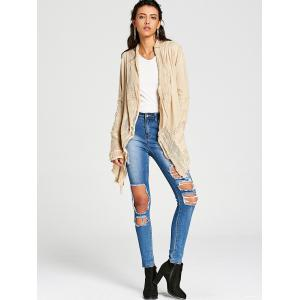 Simple Style Collarless Hollow Out Solid Color Irregular Cardigan For Women -