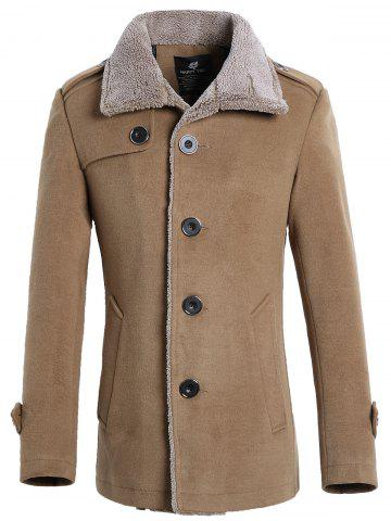 Single-breasted Fur-collar Wool Blend Jacket
