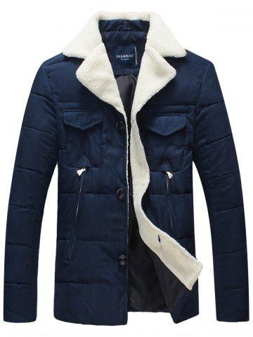 Faux Fur Collar Padded Button Up Jacket - BLUE - 2XL