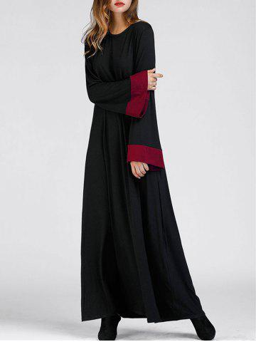 Outfit Color Block Bell Sleeve Arabic Maxi Dress