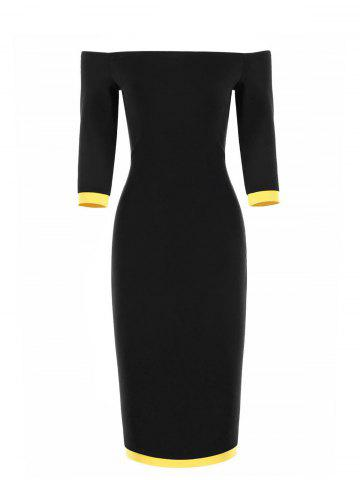 Two Tone Off The Shoulder Bodycon Dress