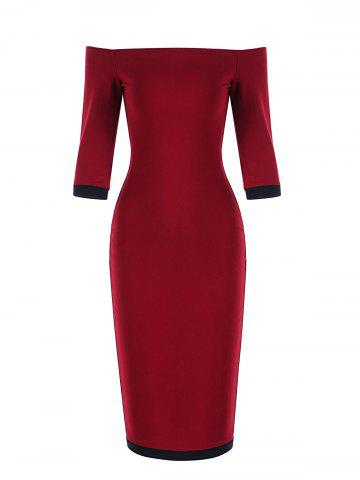 Two Tone Off The Shoulder Bodycon Dress - RED WITH BLACK - S