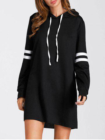 Latest Drawstring Stripe Mini Hoodie Dress