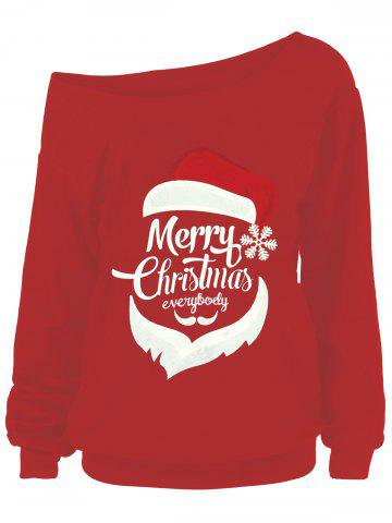 Affordable Plus Size Christmas Print Skew Neck Sweatshirt