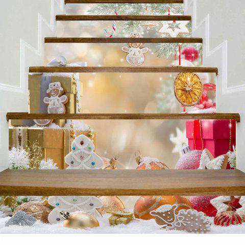 Buy Christmas Ornaments Gift Print Stair Stickers