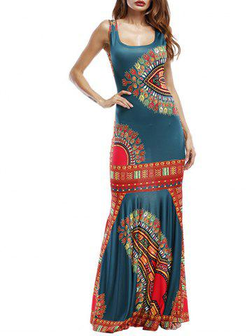 Sale Tribal Print Maxi Fishtail Party Dress