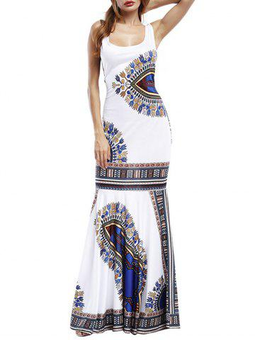 Best Tribal Print Maxi Fishtail Party Dress