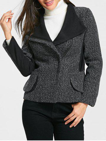 Store Pockets Oblique Zipper Tweed Jacket