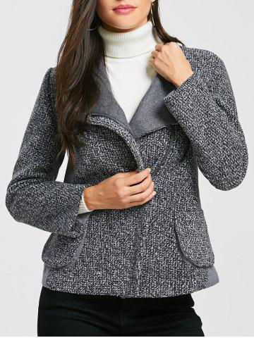 Cheap Pockets Oblique Zipper Tweed Jacket