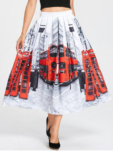 Online Streetscape Print Pleated Midi Dress