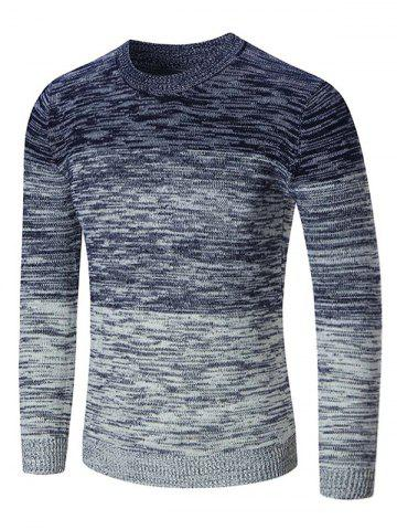 Chic Crew Neck Ombre Space Dyed Sweater