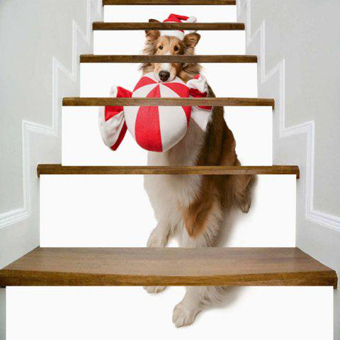 Affordable Cute Dog Wearing Christmas Hat Pattern Stair Stickers