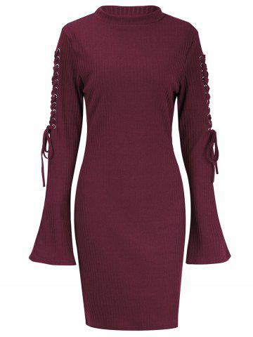 Latest Lace Up Sleeve Ribbed Sweater Dress