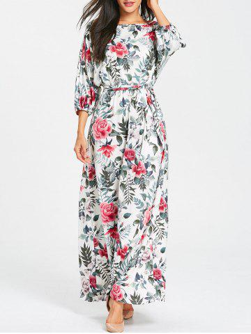 Fancy Batwing Sleeve Floral Print Belted Maxi Dress